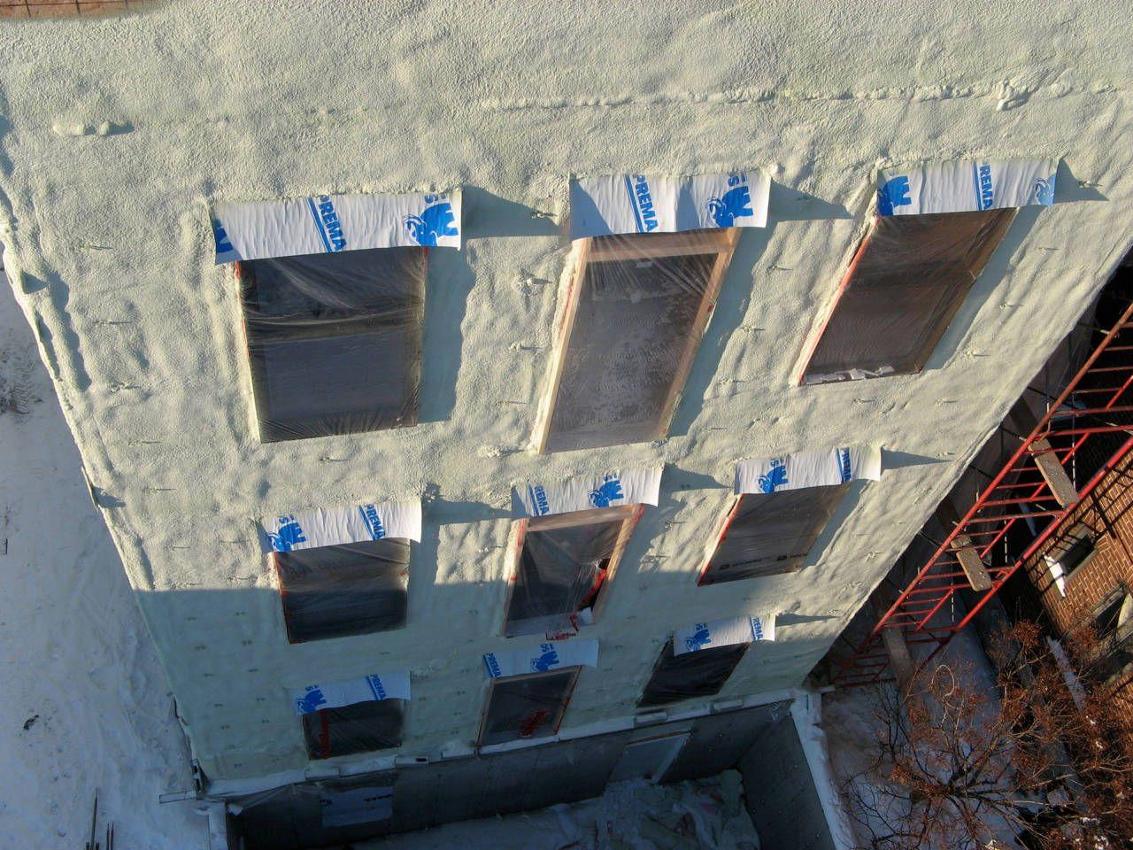 Zaizolovaná venkovní stěna s okny - tvrdá pěna S-303E-P